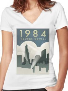 George Orwell - 1984, Art Deco Poster Women's Fitted V-Neck T-Shirt
