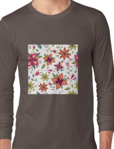 Retro 60's flower design in bright pink, lime green and orange, a colourful repeating floral design on a white background, classic statement fashion clothing, soft furnishings and home decor  Long Sleeve T-Shirt