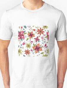 Retro 60's flower design in bright pink, lime green and orange, a colourful repeating floral design on a white background, classic statement fashion clothing, soft furnishings and home decor  Unisex T-Shirt