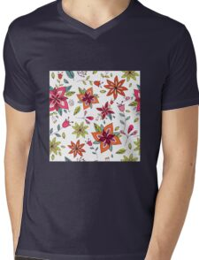 Retro 60's flower design in bright pink, lime green and orange, a colourful repeating floral design on a white background, classic statement fashion clothing, soft furnishings and home decor  Mens V-Neck T-Shirt