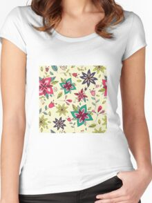 Retro 60s flower pattern on a pale yellow background, bright, colourful and fun floral repeating design, classic statement fashion clothing, soft furnishings and home decor  Women's Fitted Scoop T-Shirt
