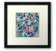 Pinup and Floral Pattern Framed Print
