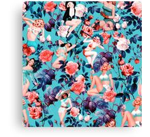 Pinup and Floral Pattern Canvas Print