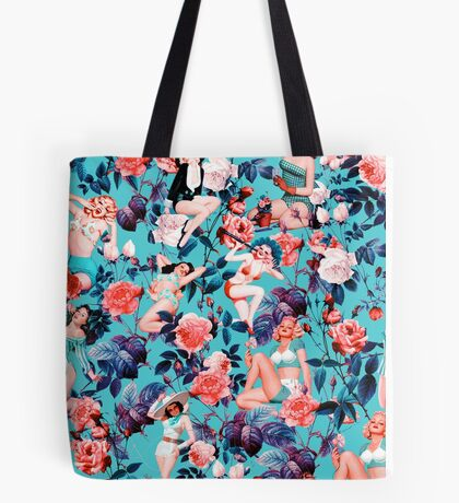 Pinup and Floral Pattern Tote Bag