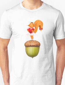 Happy squirrel with heart standing on acorn illustration art Unisex T-Shirt