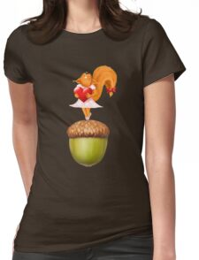 Happy squirrel with heart standing on acorn illustration art Womens Fitted T-Shirt