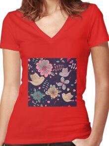 Sweet little birds in flight with bright colourful flowers, a fun modern repeating illustration on black, classic statement fashion clothing, soft furnishings and home decor  Women's Fitted V-Neck T-Shirt