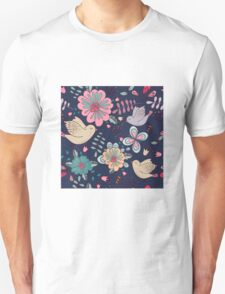 Sweet little birds in flight with bright colourful flowers, a fun modern repeating illustration on black, classic statement fashion clothing, soft furnishings and home decor  Unisex T-Shirt