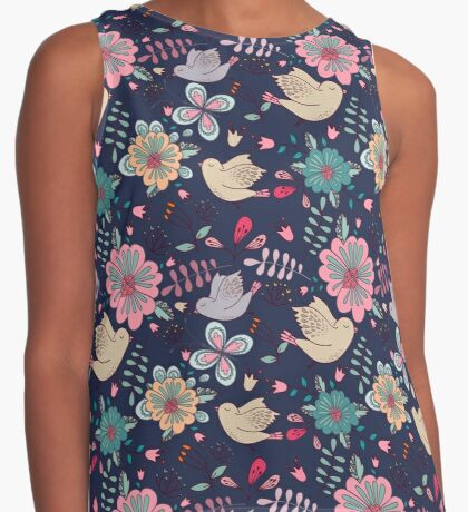 Sweet little birds in flight with bright colourful flowers, a fun modern repeating illustration on black, classic statement fashion clothing, soft furnishings and home decor  Contrast Tank