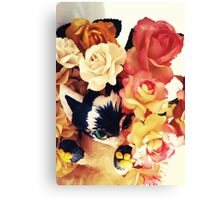 Cute Floral Cat Canvas Print