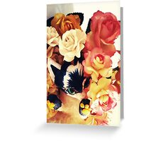 Cute Floral Cat Greeting Card