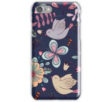 Sweet little birds in flight with bright colourful flowers, a fun modern repeating illustration on black, classic statement fashion clothing, soft furnishings and home decor  iPhone Case/Skin