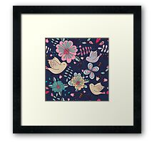 Sweet little birds in flight with bright colourful flowers, a fun modern repeating illustration on black, classic statement fashion clothing, soft furnishings and home decor  Framed Print