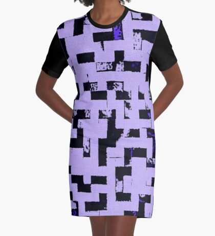 Line Art - The Bricks, tetris style, purple and black Graphic T-Shirt Dress