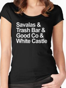 Savalas, GoodCo, Trash Bar, White Castle nostalgia tee Women's Fitted Scoop T-Shirt
