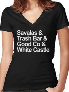 Savalas, GoodCo, Trash Bar, White Castle nostalgia tee Women's Fitted V-Neck T-Shirt