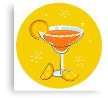 Orange retro drink with fruit. Vector cartoon Illustration Canvas Print