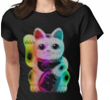 Pop Art Circles Lucky Cat - Maneki Neko Womens Fitted T-Shirt