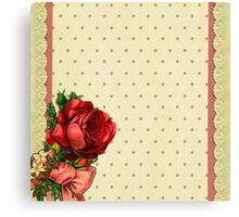 Shabby chic,red roses,gold polka dots,beige,rustic,lace ribbon Canvas Print