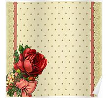 Shabby chic,red roses,gold polka dots,beige,rustic,lace ribbon Poster