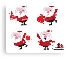 Vector Santas in various poses collection Canvas Print