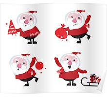 Vector Santas in various poses collection Poster