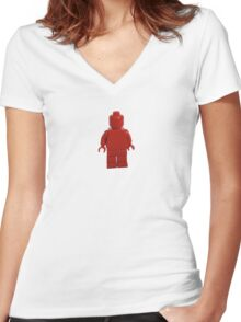 Iconic Red Monochrome Minifigure Women's Fitted V-Neck T-Shirt