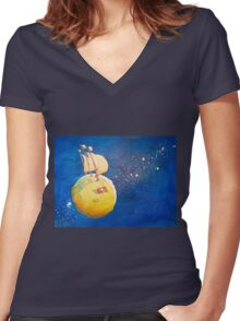 Sailing the Moon Women's Fitted V-Neck T-Shirt