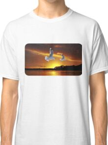 Golden seagull Ocean Sunset. Printed T-Shirts and Apparel. Classic T-Shirt