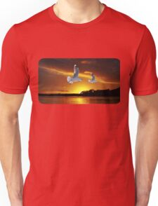 Golden seagull Ocean Sunset. Printed T-Shirts and Apparel. Unisex T-Shirt
