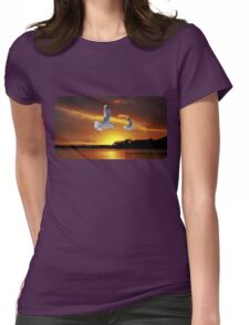 Golden seagull Ocean Sunset. Printed T-Shirts and Apparel. Womens Fitted T-Shirt