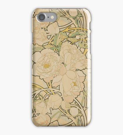 Alphonse Mucha - Eugene Samuel Grasset - Peonies1897  iPhone Case/Skin