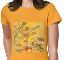 Almond Blossoms Red Orange Womens Fitted T-Shirt