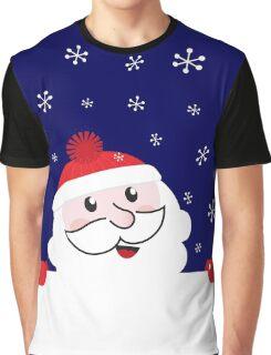 Cute Santa behind white blank banner cartoon Graphic T-Shirt