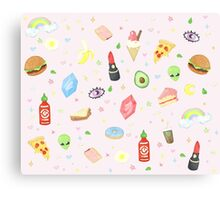 Nineties Stickers Redone - Sriracha and Rupees.  Canvas Print