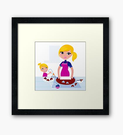 Happy blond hair Mother with Daughter baking together Framed Print