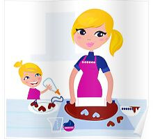 Happy blond hair Mother with Daughter baking together Poster