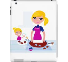Happy blond hair Mother with Daughter baking together iPad Case/Skin