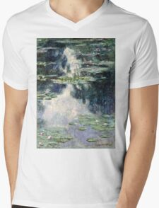 Claude Monet - Pond with Water Lilies (1907)  Mens V-Neck T-Shirt