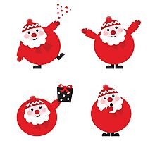 Vector illustration of cute cartoon Santa Claus set in various poses Photographic Print