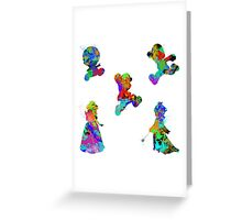 Mario 3D World Paint Splatter White Greeting Card