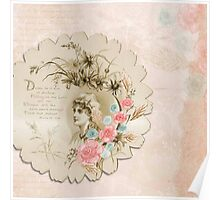 Shabby chic,red roses,lace ribbon,beige,rustic,grunge,antique,lady,text Poster