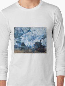Claude Monet - The Gare Saint Lazare Arrival of a Train (1877)  Long Sleeve T-Shirt