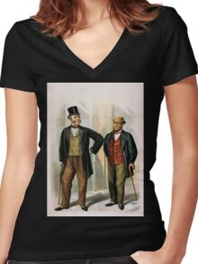 Performing Arts Posters Two well dressed men with canes standing on sidewalk outside saloon 1558 Women's Fitted V-Neck T-Shirt