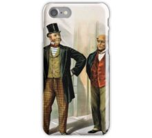Performing Arts Posters Two well dressed men with canes standing on sidewalk outside saloon 1558 iPhone Case/Skin