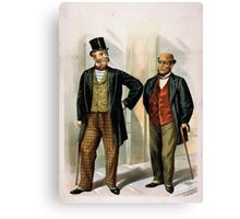 Performing Arts Posters Two well dressed men with canes standing on sidewalk outside saloon 1558 Canvas Print