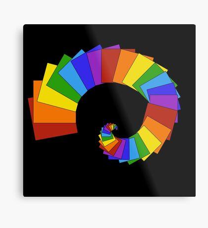 Spiral of Rainbow Squares Metal Print