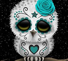 Cute Teal Blue Day of the Dead Sugar Skull Owl by Jeff Bartels