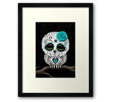 Cute Teal Blue Day of the Dead Sugar Skull Owl Framed Print