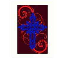MYSTIC ERA CROSS BLUE N RED Art Print
